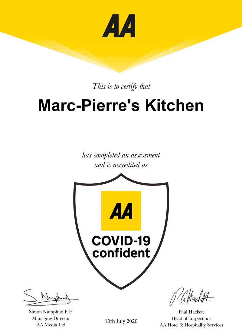 Image of Marc-Pierre's Kitchen's AA Covid Confident Certificate