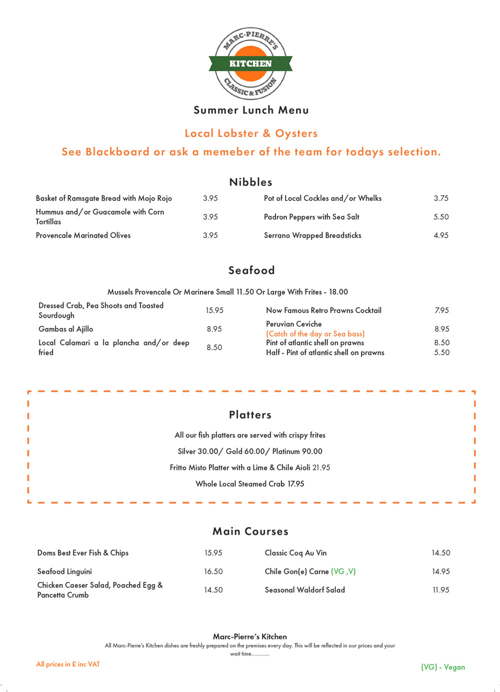 Marc Pierre's Kitchen Lunch Menu PDF download